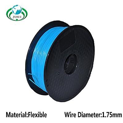 JURUI 3D Printing Filament Flexible-1kg 1.75-BLU 3D Printer Filament Flexible, Dimensional Accuracy +/- 0.05 mm, 1 kg Spool(2.2 lbs), 1.75mm, Blue