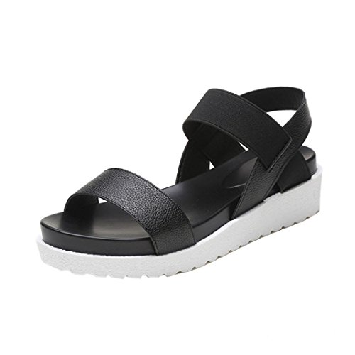 GBSELL Fashion Women Girl Summer Platform Sandals Leather Shoes (Black, 8)
