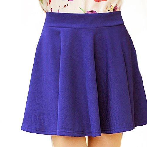[New Fashion Women's Stretch Waist Pleated Jersey Plain Skater Flared Mini Skirts] (1970s Tennis Costume)