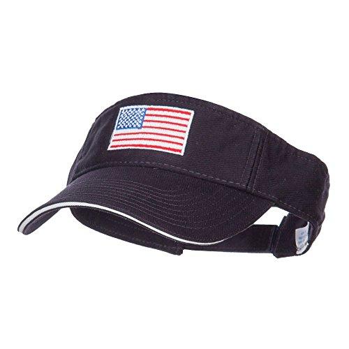 Flag Visor - American Flag Embroidered Cotton Sandwich Visor - Navy White OSFM