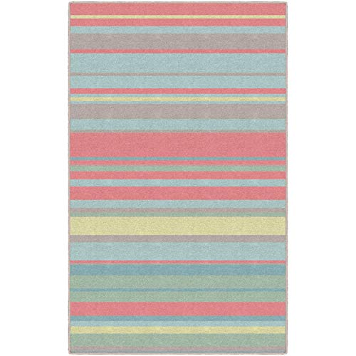 Brumlow Mills Sherbet Stripes Traditional Multicolor Nylon Area Rug - Multi - 7'6
