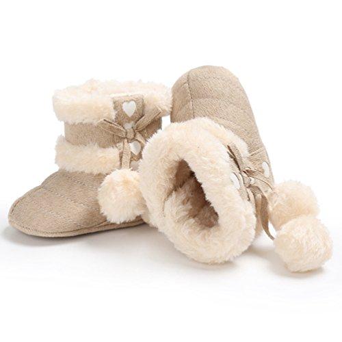 YiJee Baby Mädchen Weihnachtsstil Schick Schuhe Herbst und Winter Modisch Kinderschuhe mit Weiche Sohlen Aprikose