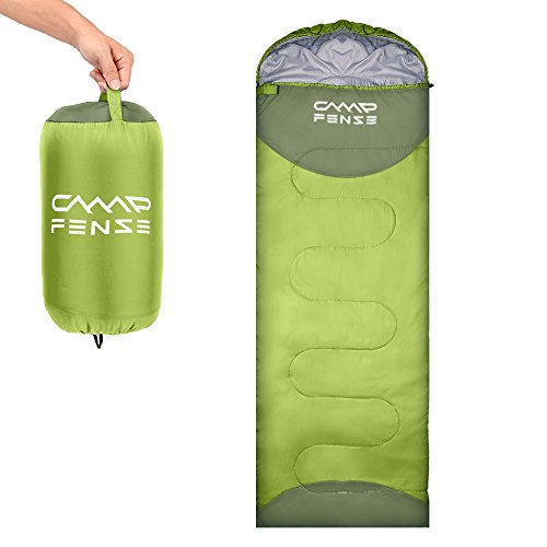 CampFENSE Sleeping Bag Lightweight Portable Compact Backpacking Outdoor Hiking Camping Equipment Tools Gear for Kids Youth Adult Men Women with Compression Storage Bag (Light Green)