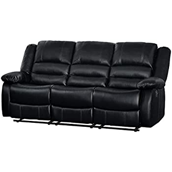 Homelegance Jarita Double Reclining Sofa Bi-Cast Vinyl Cover Black  sc 1 st  Amazon.com : reclining leather sofa - islam-shia.org