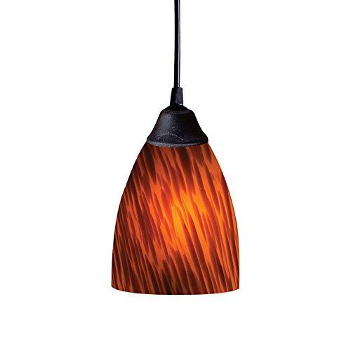 - Elk 406-1ES 1-Light Pendant In Dark Rust and Espresso Glass
