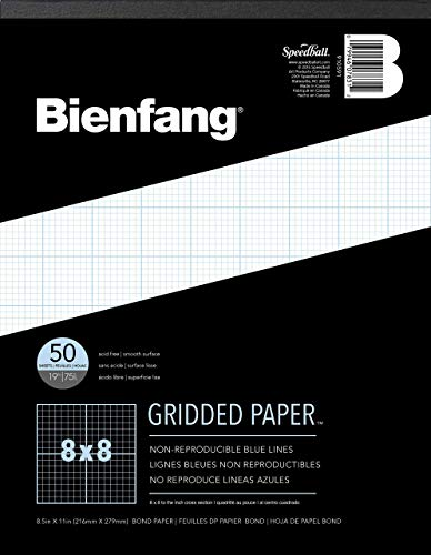 Bienfang Designer Grid Paper, 50 Sheets, 8-1/2-Inch by 11-Inch Pad, 8 by 8 Cross Section ()