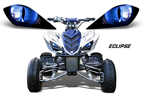 (AMR Racing ATV Headlight Eye Graphic Decal Cover for Yamaha Raptor 700/250/350 - Eclipse)