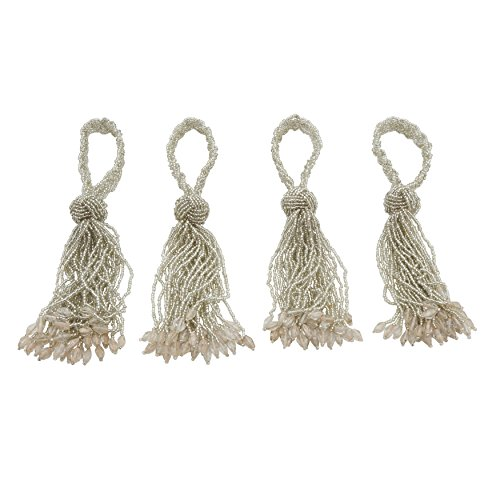 (SARO LIFESTYLE Chic Collection All Over All Over Beaded Tassel Napkin Ring, 2.5
