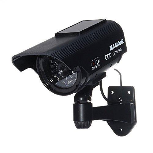 Masione® Solarpanel Dummy Kamera Überwachungskamera LED-Licht Fake CCD Sicherheitkamera Attrappe Camera