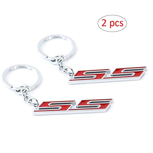 WindCar 1 PC Super Sport SS Key Chain Metal Keychain Fob Ring Keychain for Chevrolet Chevy (Red-2pcs)