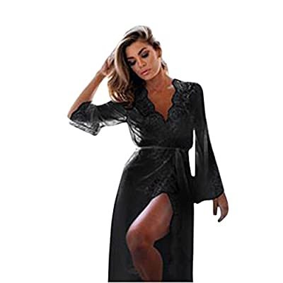 Friedman Sexy Sleepwear Maxi Lace Robe Long Bathrobe Women Kimono Dressing Gown Nightgown
