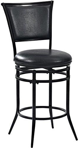 Crosley Furniture CF520026BK-BK Rachel Swivel Counter Stool, 26-inch, Black with Black Cushion