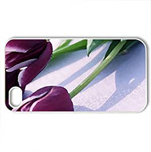 Purple Tulips - Case Cover for iPhone 4 and 4s (Flowers Series, Watercolor style, White)
