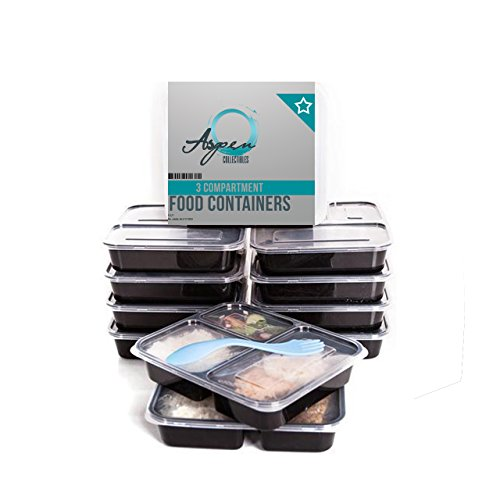 Lumenon 3 Compartment Reusable Food Storage Meal Containers