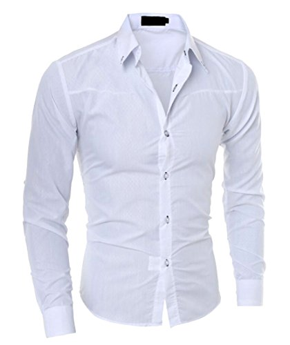 - Generic Mens Dress Shirt Slim Fit Long Sleeves Elastic Bamboo Fiber Button Down Shirts White L