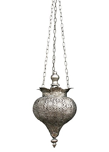 Antique Silver Oriental Metal Hanging Pendant Light Candle Lantern - Small Product SKU: CL221834 (Antique Lantern Silver)