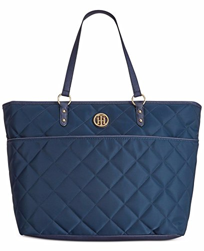 Tommy Hilfiger Quilted Nylon Top Zip Large Shopper Bag Tote Top Handle Handbag (Navy) ()