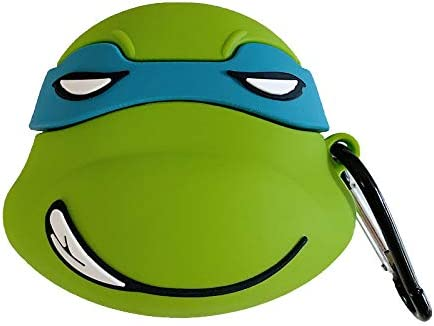 Ultra Thick Soft Silicone Green Ninja Turtle Case with Hook for Apple Airpods 1 2 Air Pods Wireless Earbuds Protective 3D Japanese Cartoon Fun Kids ...