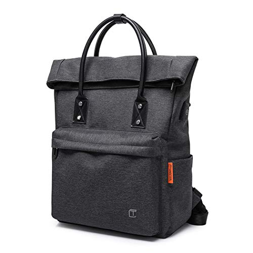 Wind Took Laptop Backpack for Women and Men Travel Computer Bag School College Daypack with USB Charging Port Suits 15.6 Inch Notebook 703-Black-1