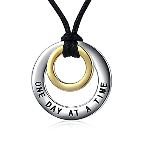 925 Sterling Silver Double Ring Circle Pendant Necklace for Men 24