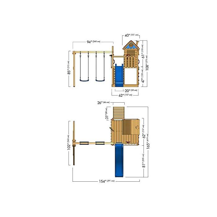 41r9g0w84TL WICKEY Torre de escalada incl. juego de accesorios completo con tobogán, columpio doble y cajón de arena Viga de columpio de 9x9cm, postes verticales de 7x7cm - Calidad-y- seguridad verificadas - Made in Germany Madera maciza impregnada a presión - Varias opciones de montaje - Instrucciones de montaje sencillas y detalladas