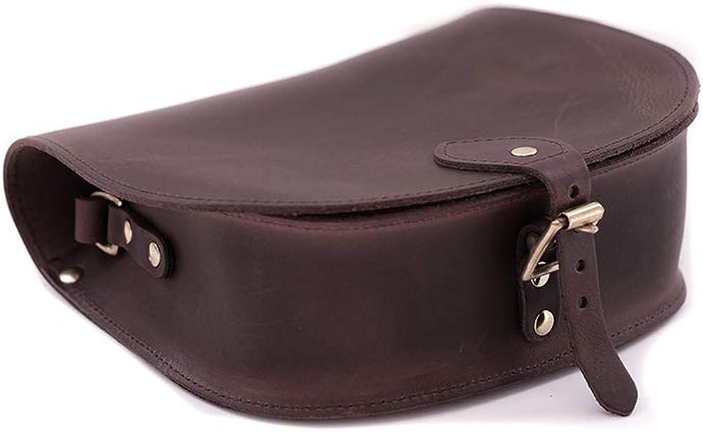 A to Z Leather Sac besace rond en cuir doté d'une bandoulière ajustable. Personnalisable avec vos initiales. Marron Vintage