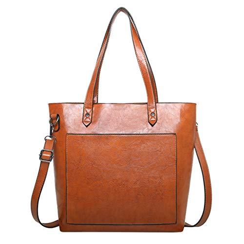 (HongMong Fashion Women Pure Color Leather Wild Bag Crossbody Messenger Shouldr Bags)