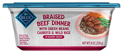 (Blue Buffalo Braised Beef Dinner Natural Adult Wet Dog Food Tub, Beef with Green Beans, Carrots & Wild Rice 8-oz (Pack of 8))