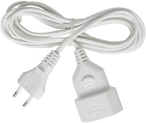 Brennenstuhl Cable alargador de corriente de enchufe plano tipo euro (enchufe europeo, para interiores, cable plano de 3 m) blanco