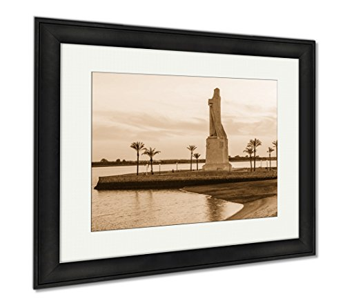 Ashley Framed Prints Discovery Faith Christopher Columbus Monument In Palos De Fronte, Wall Art Home Decoration, Sepia, 26x30 (frame size), Black Frame, AG6376816 by Ashley Framed Prints