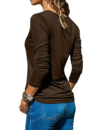 YOINS Camicette Donna Manica Lunga Maglia Pizzo Crop Magliette Scollo a V Camicia Slim Fit Sexy Bluse Maglie Donne Casuale Top