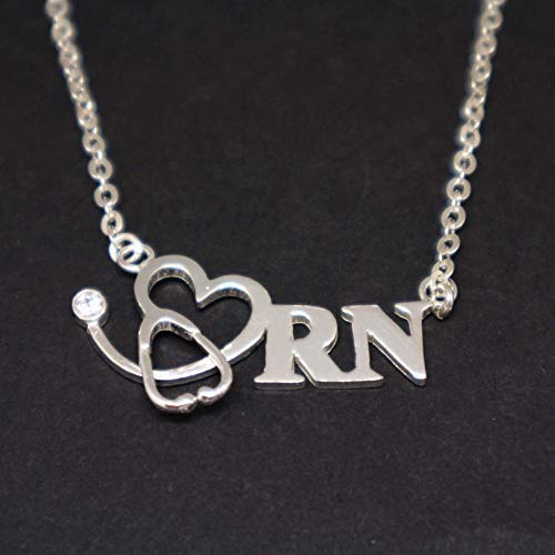 - 18 Inches Handmade Nurse Crna Graduation Heartbeat Stethoscope Necklace Choker