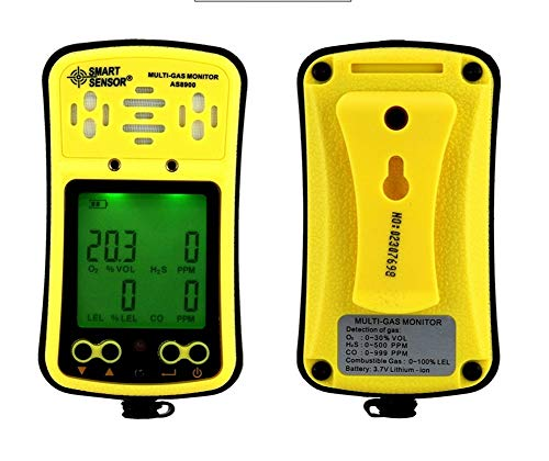 Multi Gas Monitor Handheld Gas Detector Digital LCD Display Backlit Rechargeable Battery Sound Light Alarm 4 in 1 Gas Analyzer ()