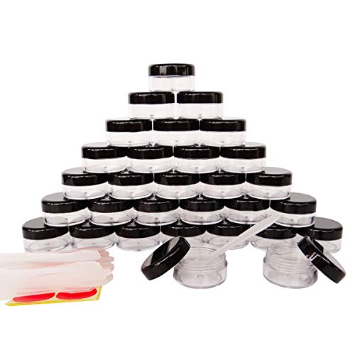 (30Pack 10 Gram Small Clear Cosmetic Sample 10ml Empty Containers for Make-up Gifts, Eye-Shadow, Nails, Powder, Gems, Beads, Jewelry, Cream, Pot Jars with Black Lids +30x Dispensing Spatulas+ Labels)