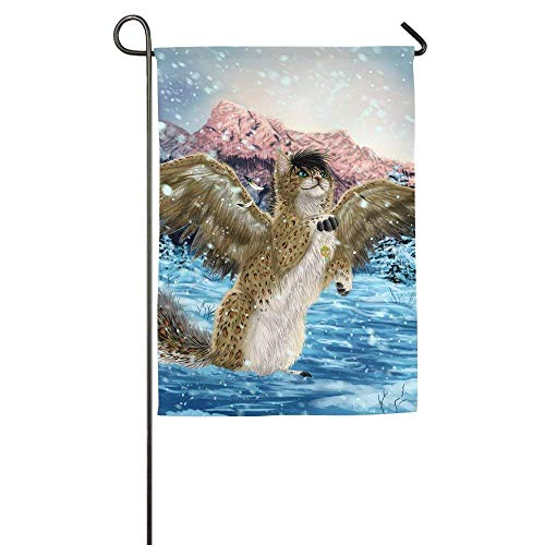 Cats Magical Animals Wings Snow Snowflakes Garden Flag Indoor & Outdoor Decorative Flags for Parade Sports Game Family Party Wall Banner 28x40 inches