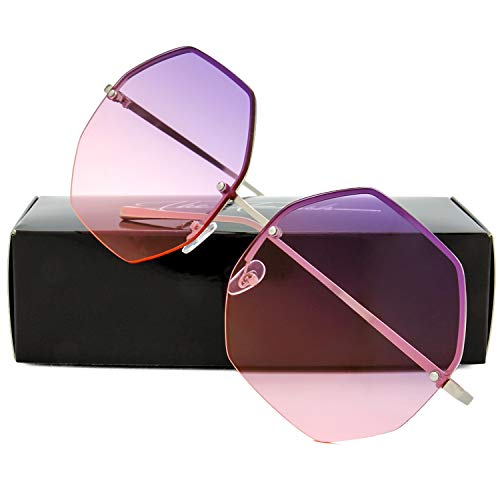 (The Fresh Fashion Designer Oversize Hexagon Metal frame Ocean Colored Lens Women Sunglasses with Gift Box (Silver,)