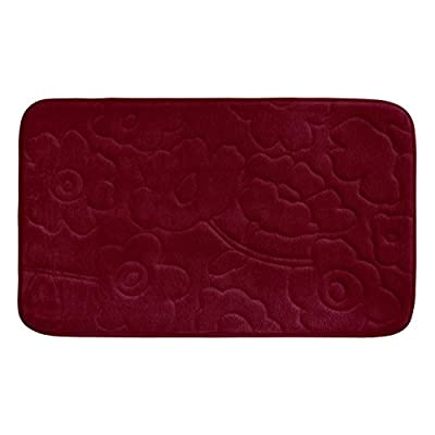 "Bounce Comfort Stencil Floral Memory Foam Bath Mat, 20 by 34"", Barn Red - Includes (1) Bounce Comfort plush memory foam bath mat Non-skid backing, non-slip surface for added safety Bath mats are available in 17 x 24"" or 20 x 34"" - bathroom-linens, bathroom, bath-mats - 41r9j8pGPaL. SS400  -"