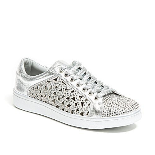 Lady Couture Laser Cut Sneakers with Rhinestone Women's Shoes, Paris Silver 39