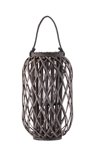 """Urban Trends Bamboo Round 19.50"""" Braided Rope Lip and Handle, Lattice Design Body and Hurricane Candle Holder Weathered Finish Taupe Lantern from Urban Trends"""
