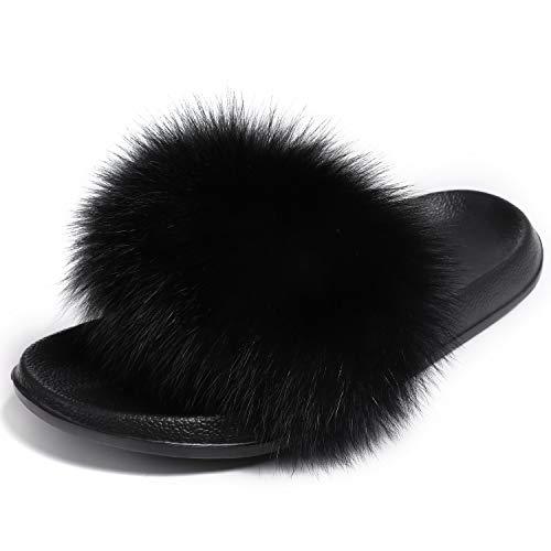 Valpeak Fur Slippers Slides for Women Open Toe Real Fox Fur Slippers Girls Fluffy House Slides Outdoor(Black)