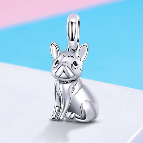 d8dab78145d Forever Queen Dog Charm, 925 Sterling Silver Cute Loyal Partners French  Bulldog Doggy Animal Pet