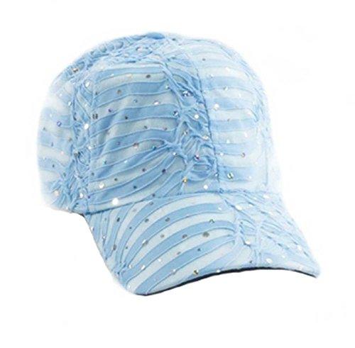 Glitter Sequin Baseball Cap Bling Bling Cap or Hat (Sky Blue)