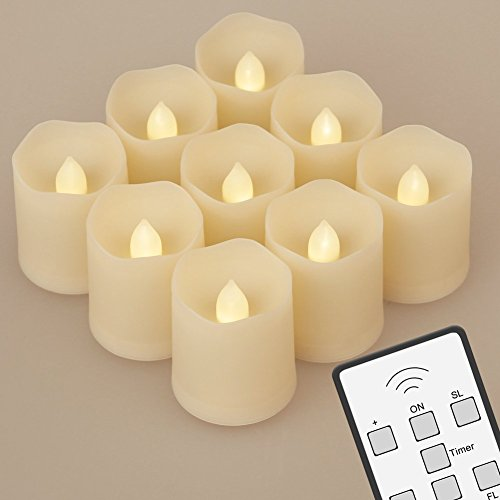 Set of 9 Battery Operated LED Flameless Candles with Remote Control Extended Light Time Dimmable for Birthday Parties Weddings Festivals Decorations Christmas Votive Candles