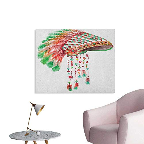 Anzhutwelve Feather Wallpaper Tribal Chief Costume Headdress Native American Culture Ethnicity Symbol The Office Poster Vermilion Orange Green W32 xL24]()