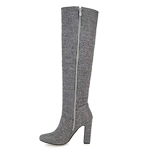 Long Heel Zip Taoffenwomen Boots Grey Shoesfashionhigh 0qvT4Tf