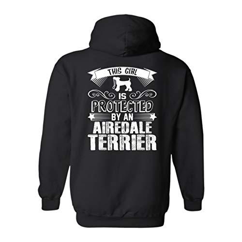 Hoodie Mens Terrier Airedale (LightPink Protected by Airedale Terrier Hooded Sweatshirt, Unisex Hoodie Design Black,M)