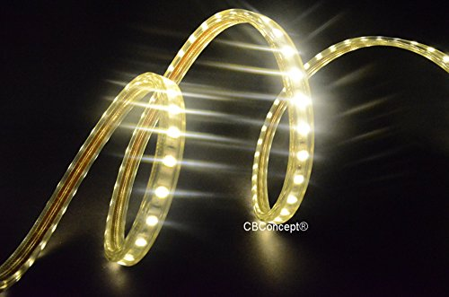120v Rope Light (CBConcept UL Listed, 10 Feet,Super Bright 2700 Lumen, 3000K Warm White, Dimmable, 110-120V AC Flexible Flat LED Strip Rope Light, 180 Units 5050 SMD LEDs, Waterproof IP65, Accessories Included, Size: 0.57 Inch Width X 0.33 Inch Thickness- [Christmas Lighting, Indoor / Outdoor Rope Lighting, Ceiling Light, Kitchen Lighting] [Ready to use])