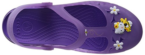 Crocs Femmes Carlie Mary Jane Fleur Bonjour Kitty Chaussures Iris / Néon Violet