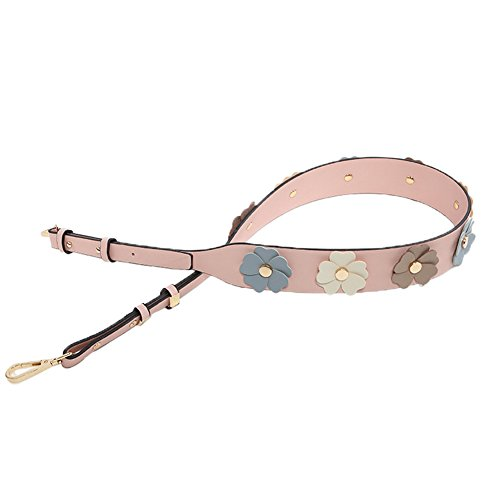 Myathle Wide Flower Purse Straps Replacement Vintage Guitar Handbags Strap for Shoulder Bags Gold Pink