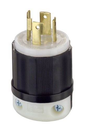 Leviton 2711 30 Amp, 125/250 Volt, NEMA L14-30P, 3P, 4W, Locking Plug, Industrial Grade, Grounding - Black-White